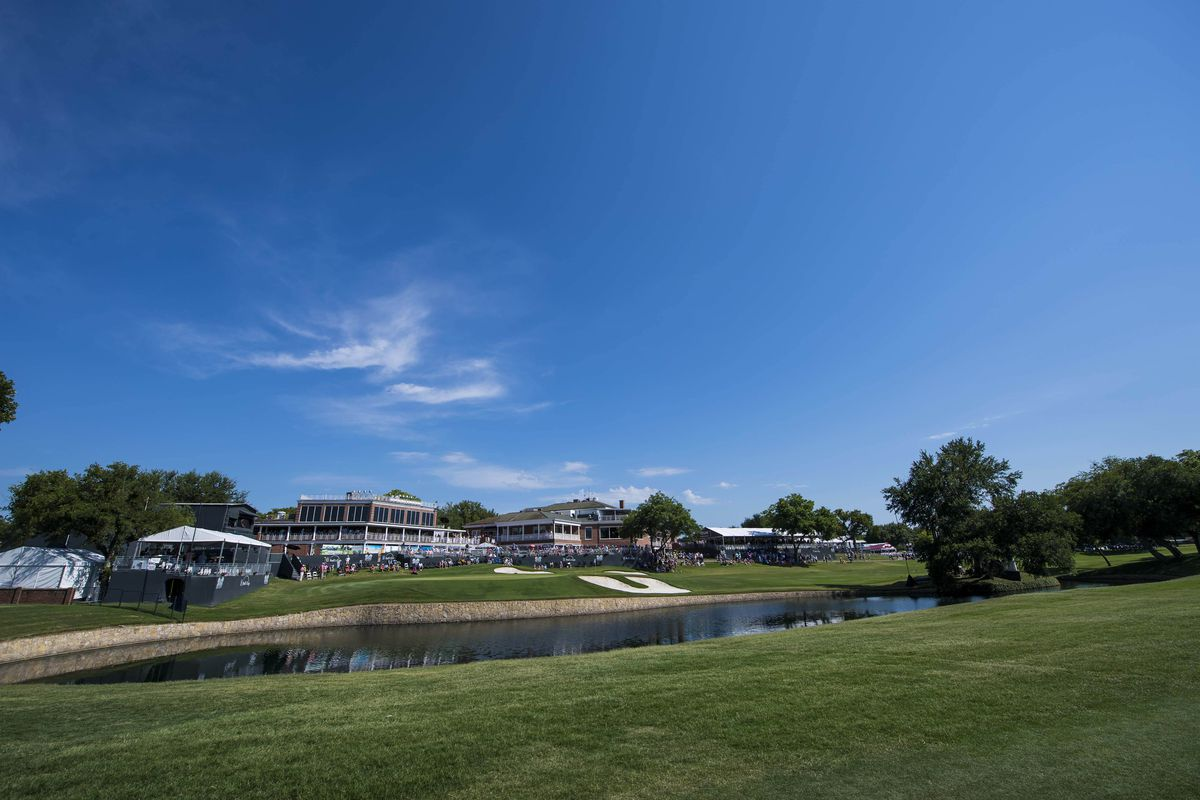 A general view of the course and eighteenth hole during the third round of the Fort Worth Invitational golf tournament at Colonial Country Club.