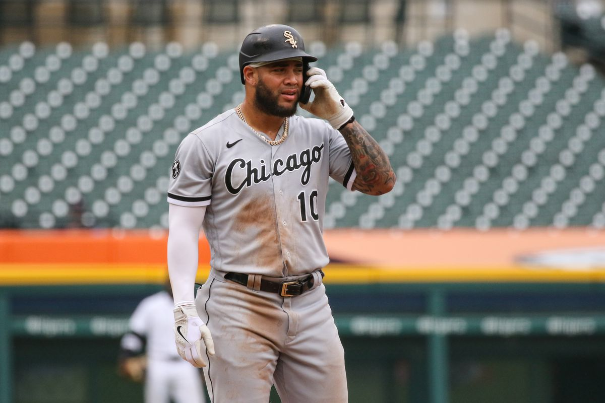 Chicago White Sox designated hitter Yoan Moncada (10) looks on after hitting a single during the sixth inning of a regular season Major League Baseball game between the Chicago White Sox and the Detroit Tigers on September 21, 2021 at Comerica Park in Detroit, Michigan.