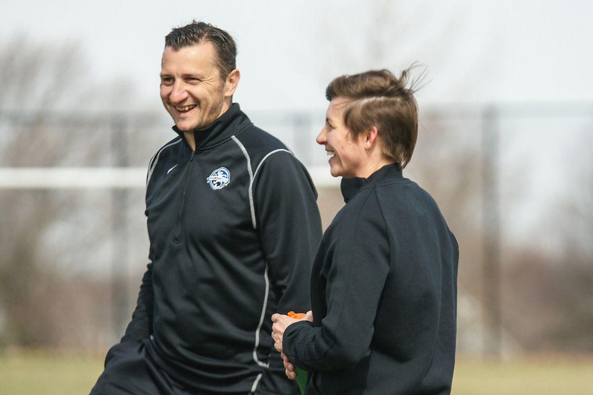 FC Kansas City's Amy Lepeilbet talking with her new Coach Andonovski