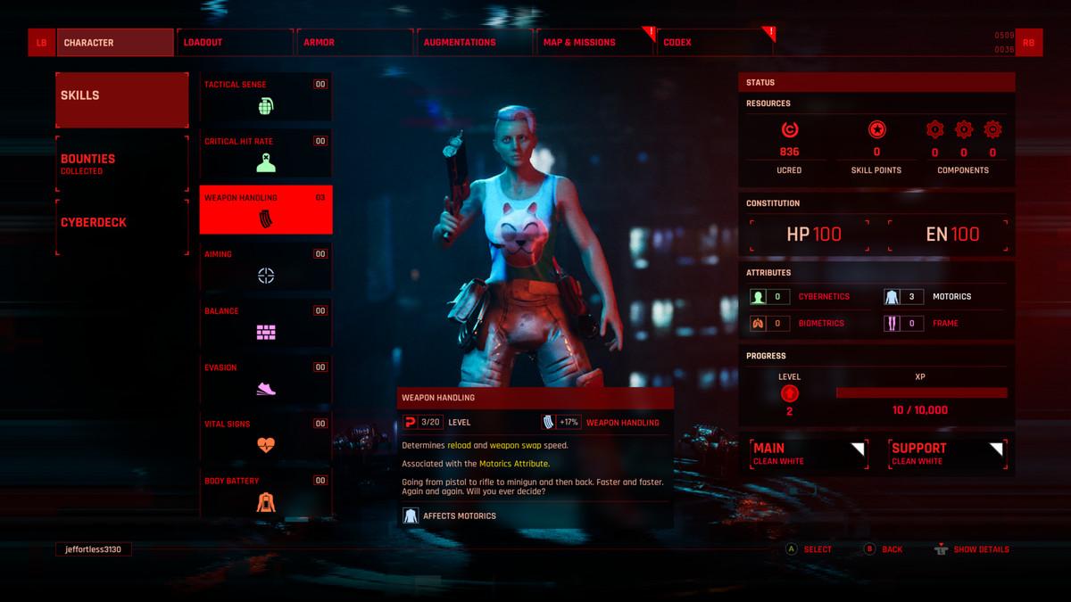 A tela de habilidades do personagem em The Ascent