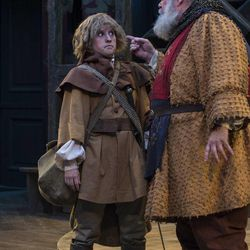 """Sceri Sioux Ivers, left, as Falstaff's Page and John Ahlin as Sir John Falstaff in the Utah Shakespeare Festival's 2015 production of """"Henry IV Part Two."""""""