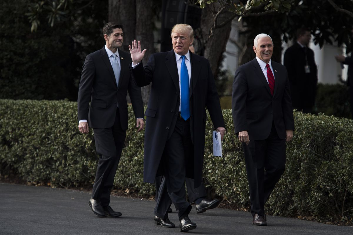 Speaker of the House Paul Ryan, President Donald Trump and Vice President Mike Pence