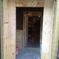 """You've seen <a href=""""http://ny.eater.com/archives/2013/02/craft_beer_juggernaut_torst_set_to_open_on_march_8.php"""">the ceiling</a>, now see the plywood at Tørst, coming to Greenpoint. [<a href=""""https://twitter.com/TORST_NYC/status/302049158506897410/photo/"""