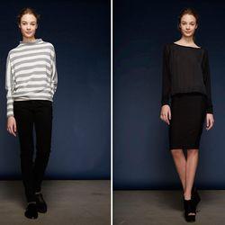 Left: Cashmere Boat Stripe Funnel Neck Dolman Sweatshirt ($150) and Marike Skinny Jean ($175); Raglan Fabric Block Dress ($250)
