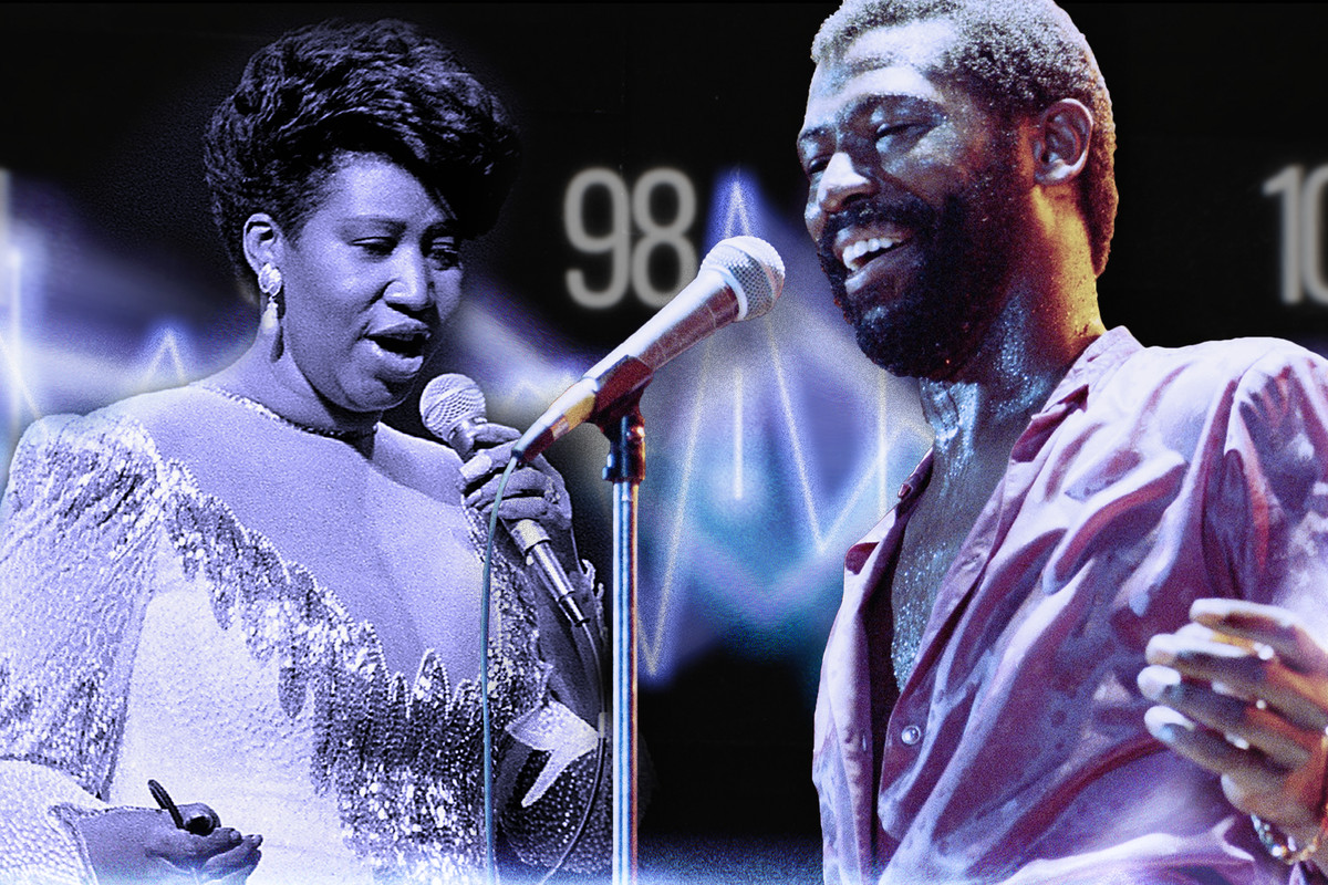 Teddy Pendergrass and Aretha Franklin sing against a glowing radio wave backdrop