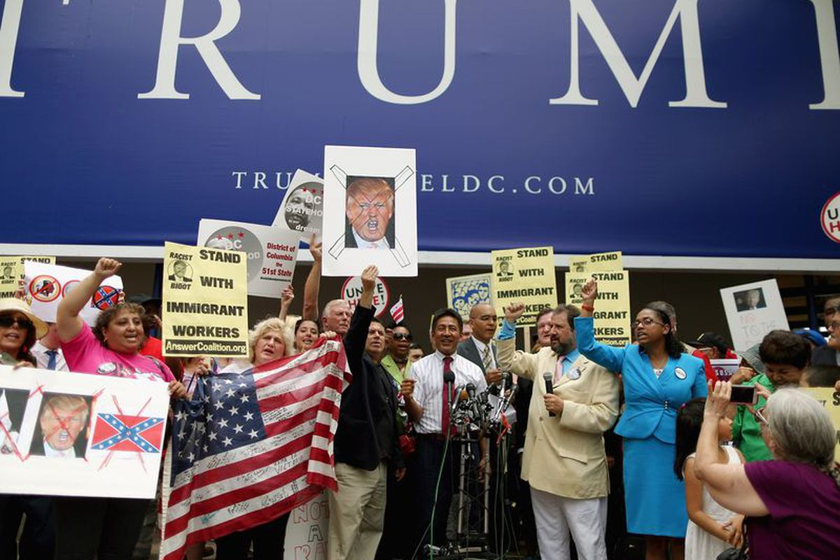 Protests at Trump Hotel after the candidate's comments about Mexicans.