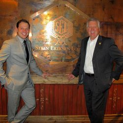 CEO Russ Olsen, right, and communications manager John Perry wear winning smiles after Stein Eriksen Lodge was named the world's best ski hotel at the World Ski Awards in Kitzbuhel, Austria