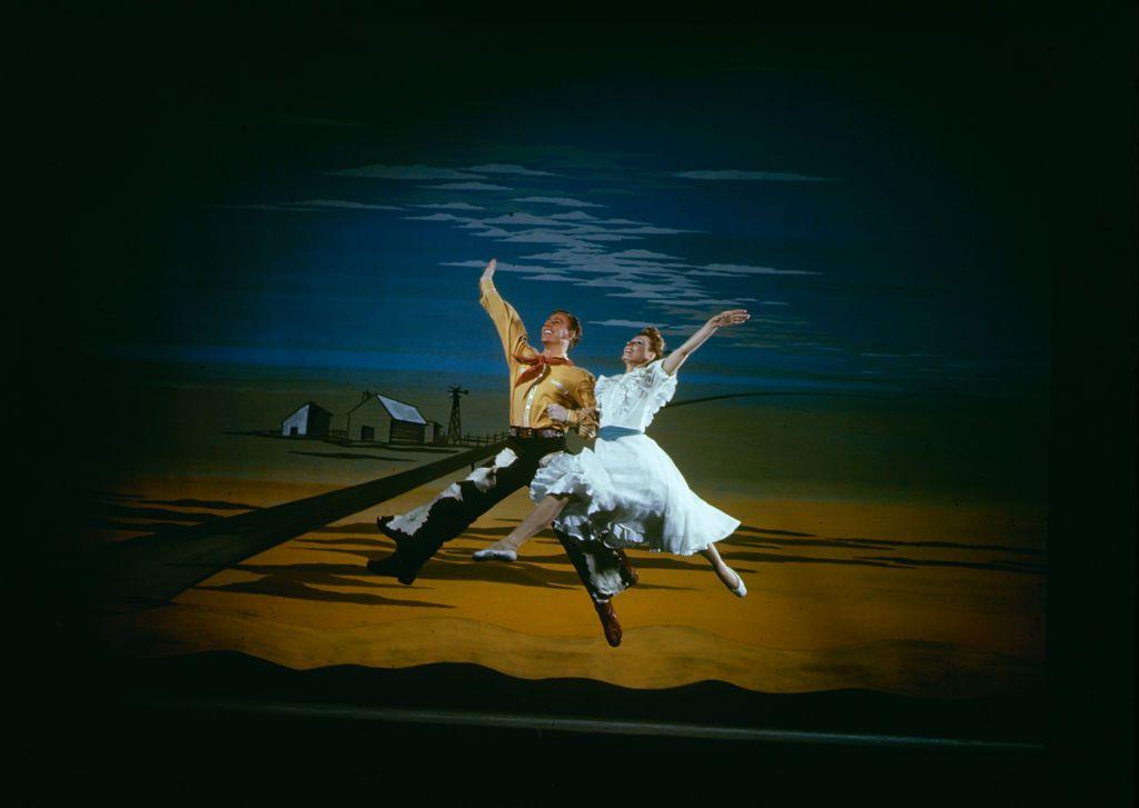 Marc Platt and Katherine Sergava dance together in 'Oklahoma!' at the St. James Theatre, New York, New York, 1943.