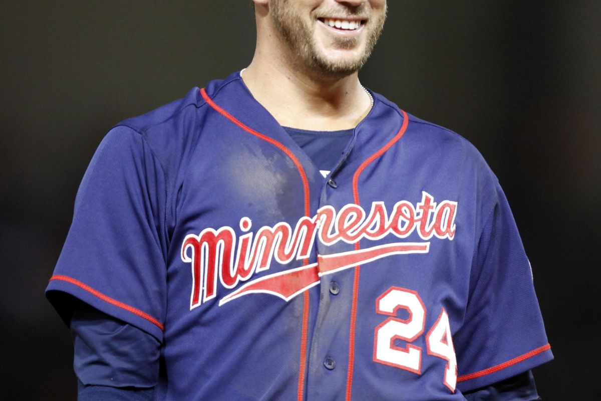 Jul 8, 2012; Arlington, TX, USA; Minnesota Twins outfielder Trevor Plouffe (24) on the field during the game against the Texas Rangers at Rangers Ballpark. The Rangers beat the Twins 4-3. Mandatory Credit: Tim Heitman-US PRESSWIRE