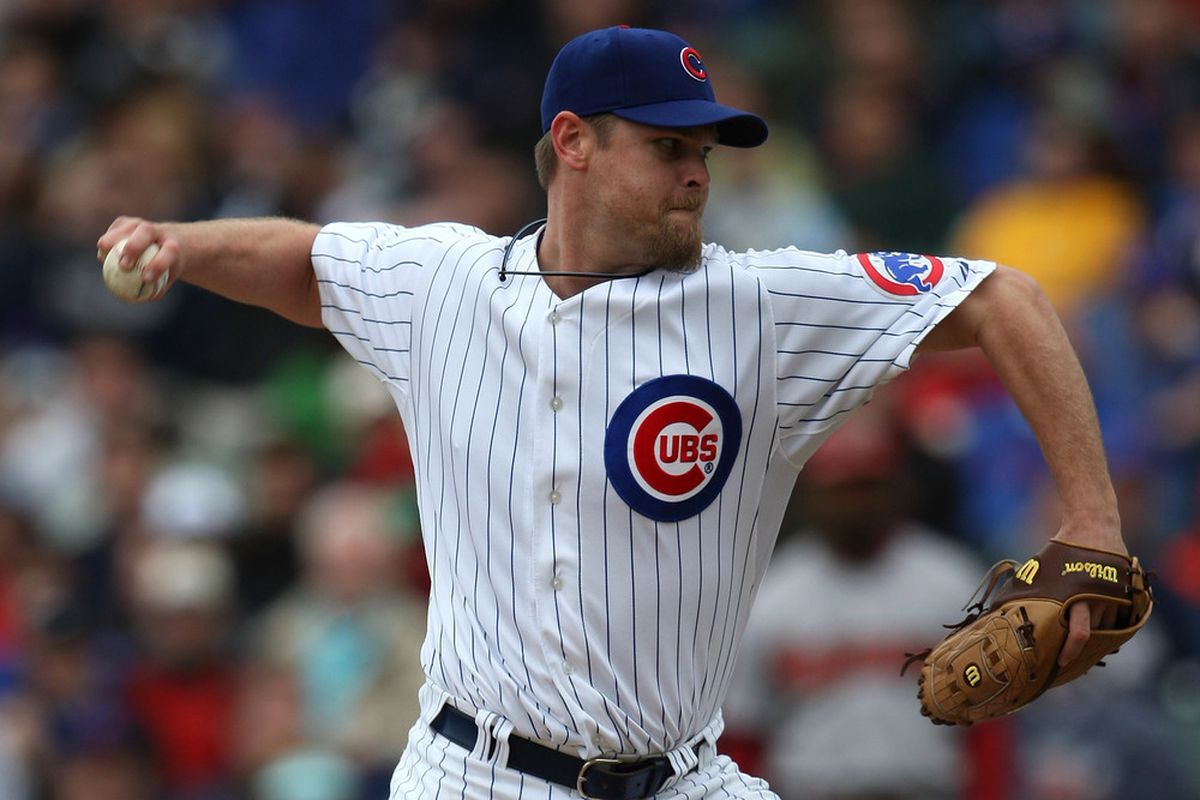 Kerry Wood of the Chicago Cubs closes out the Arizona Diamondbacks in the 9th inning for a save at Wrigley Field in Chicago, Illinois. The Cubs defeated the Diamondbacks 3-1. (Photo by Jonathan Daniel/Getty Images)