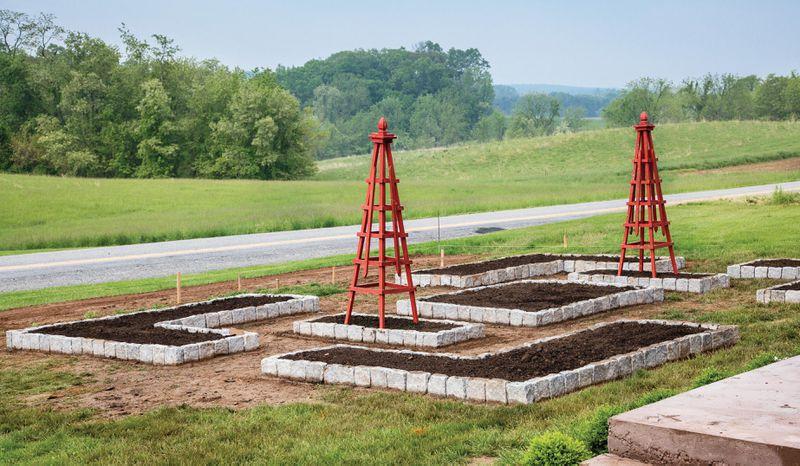 Summer 2021, Landscaping, vegetable and herb garden, cedar trellises