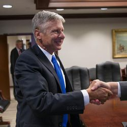 Libertarian presidential candidate Gary Johnson arrives to speak with the Deseret News and KSL editorial board in Salt Lake City on Friday, Aug. 19, 2016.