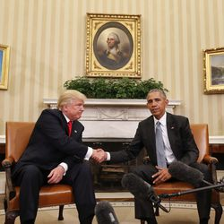 President Barack Obama and President-elect Donald Trump shake hands following a meeting in the Oval Office of the White House on Nov. 10, 2016.