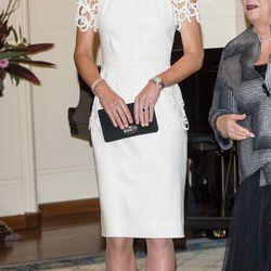 In a Lela Rose dress on April 24th, 2014 in Canberra, Australia.