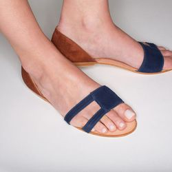 Navy rust sandal, $228.