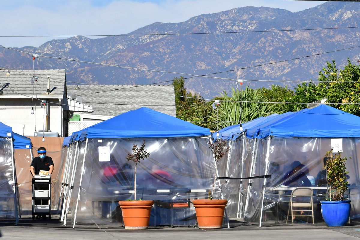 Tents for outdoor dining in Alhambra on November 17