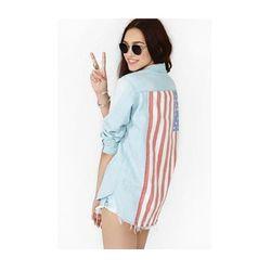 """<b>Nasty Gal</b> <a href=""""http://www.nastygal.com/product/american-summer-denim-shirt/_/searchString/flag"""">American Summer Denim Shirt</a>, $58"""