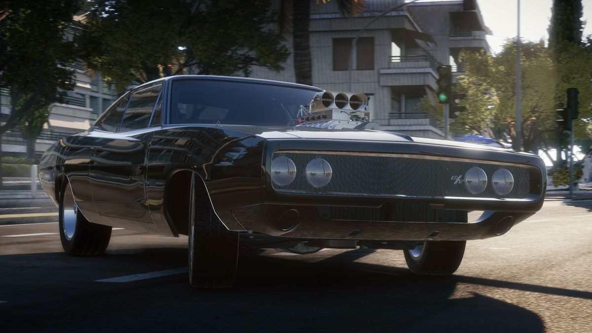 A black muscle car