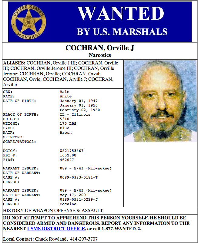A U.S. Marshals Service wanted poster for Orville Cochran. / U.S. Marshals Service