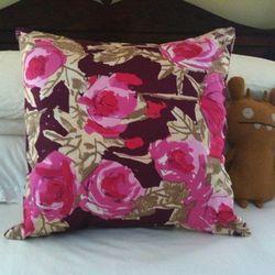 """Vintage Vera silk scarf pillow, <a href=""""http://www.etsy.com/listing/48171333/vintage-vera-silk-scarf-pillow-burgundy?ref=&sref="""">$150</a>."""