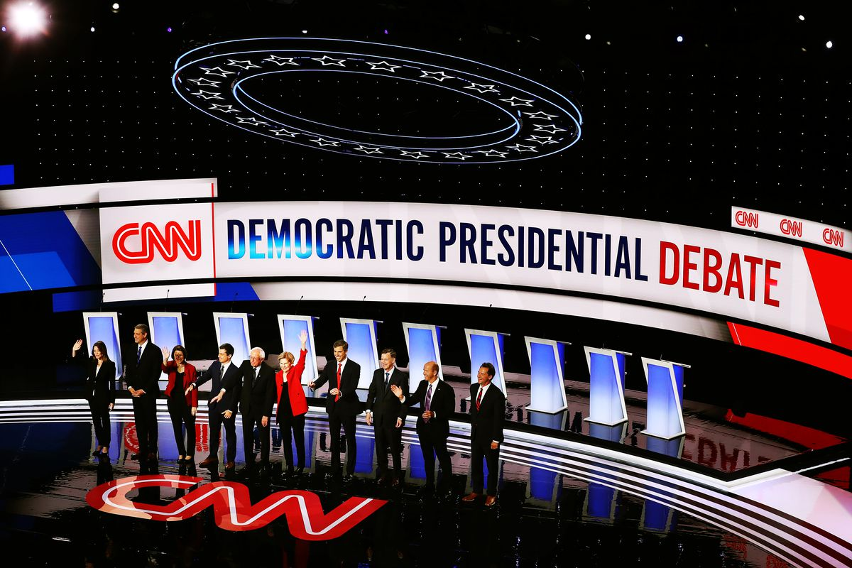 The candidates gather on the first night of the CNN Democratic presidential debate.