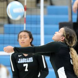 West Jordan's Mailei Myers bumps the ball during a high school volleyball game at West Jordan High School in West Jordan on Thursday, Sept. 2, 2021.
