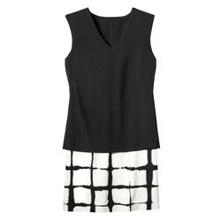 Double Layer Shift Dress in Painterly Black/White Plaid,$49.99, (XS-XXL, 1X-3X*) *Target.com Only