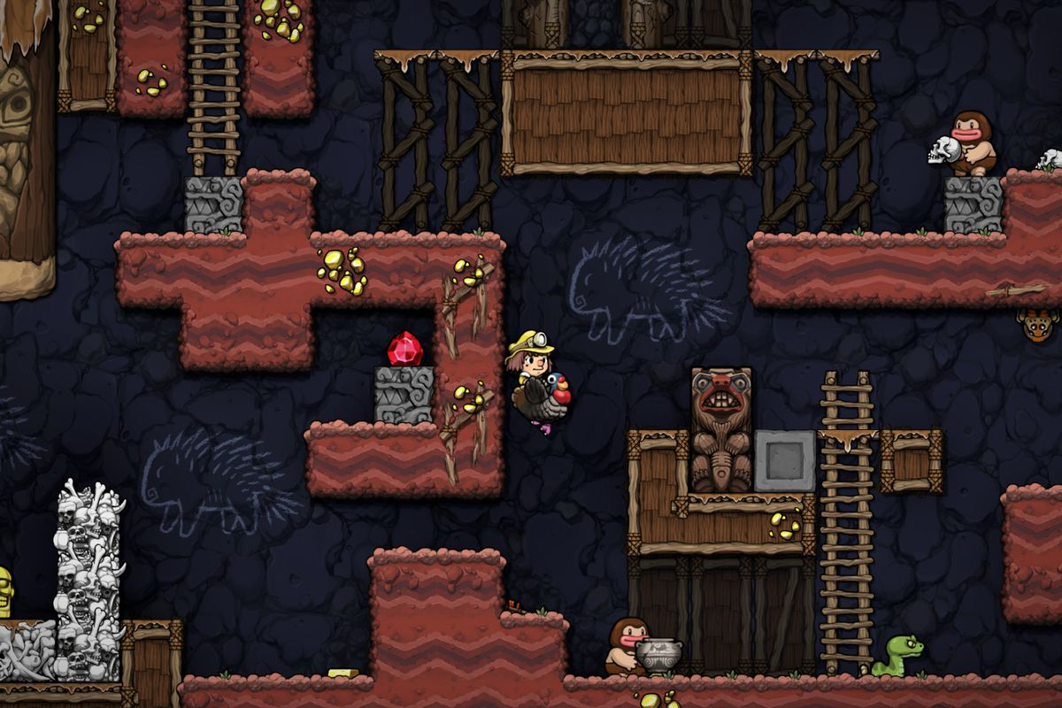 A character rides a turkey in Spelunky 2