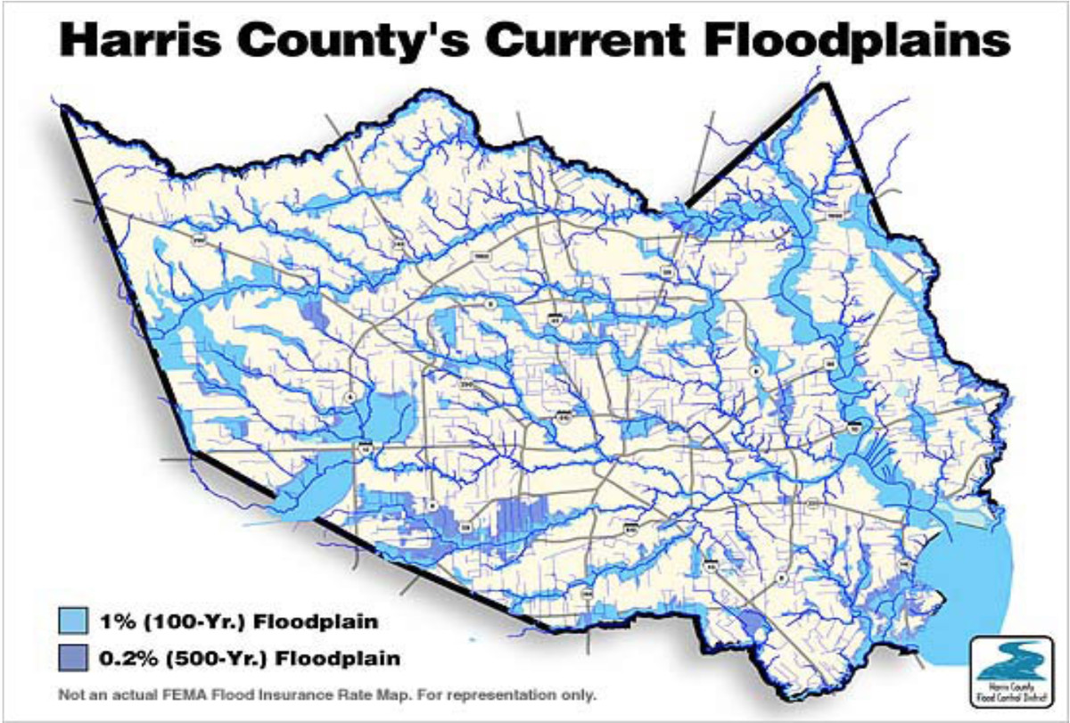 a 2013 map of the estimated 100 year and 500 year floodplains for harris county where houston is located army corps of engineers national economic
