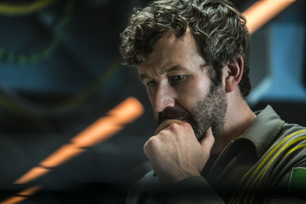 The Cloverfield Paradox - Mundy looks concerned with his chin in his hand