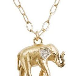 """<a href=""""http://www.jcrew.com/womens_category/jewelry/necklaces/PRDOVR~90770/90770.jsp"""">J.Crew elephant charm necklace</a>, $35, jcrew.com"""