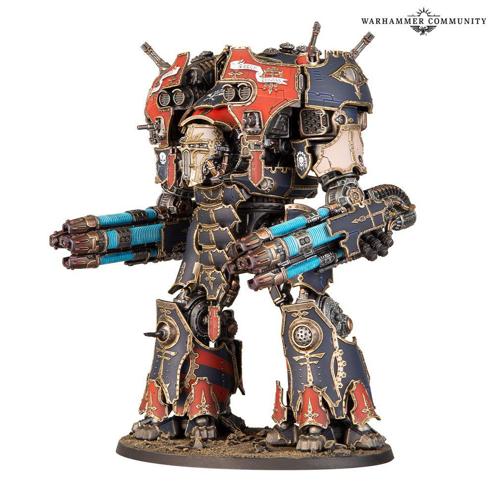A warmaster titan painted in a loyalist pattern, black and red with gold accents. It carries two quad-barrelled plasma weapons.