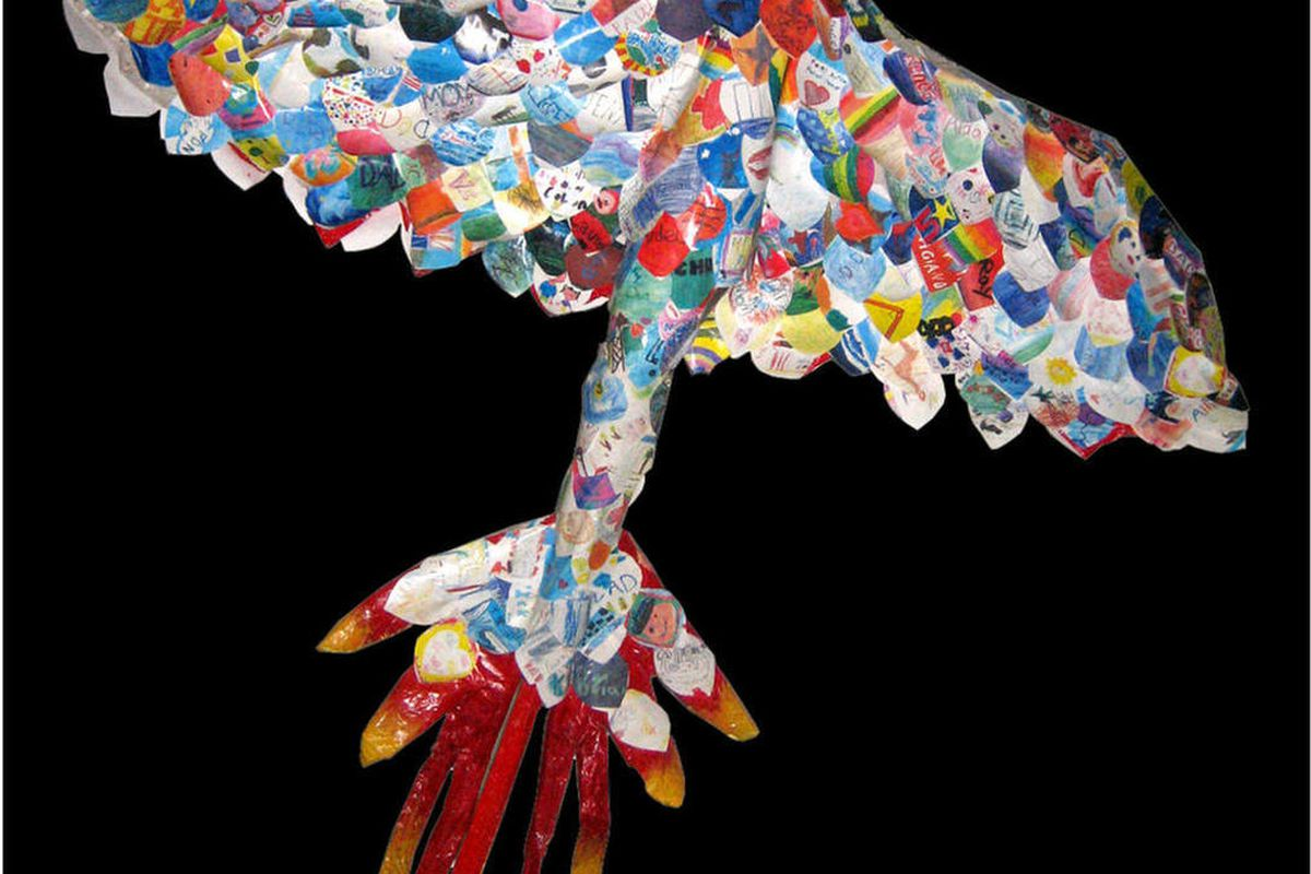 """This undated handout photo provided by Traci Molloy shows a piece of artwork called """"The Feathers of the Phoenix"""" that was created by about 300 children who lost parents or siblings in the 9/11 attacks. Large-scale artworks created by children who lost pa"""
