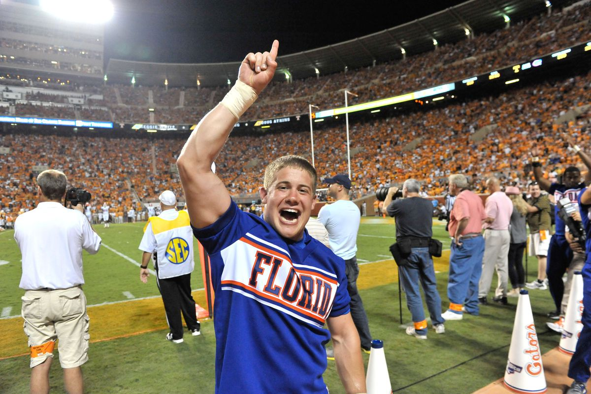 Sep 15, 2012; Knoxville, TN, USA; Florida Gators cheerleader celebrates his team scoring against the Tennessee Volunteers during the second half at Neyland Stadium. Florida defeated Tennessee 37-20. Mandatory Credit: Jim Brown-US PRESSWIRE