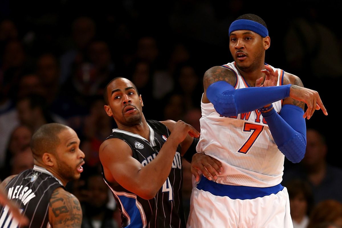 Jameer Nelson, Arron Afflalo, and Carmelo Anthony