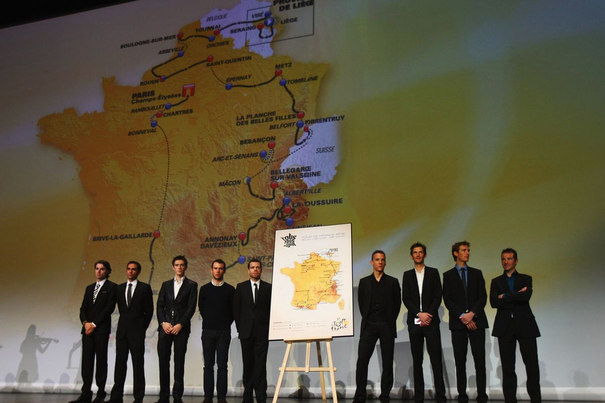 PARIS, FRANCE - OCTOBER 18:  The 2012 Tour de France route is officially revealed on October 18, 2011 in Paris, France.  (Photo by Bryn Lennon/Getty Images)