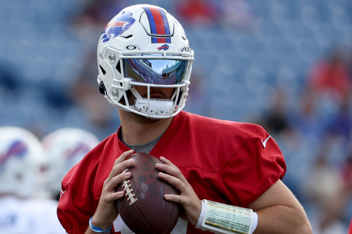 Josh Allen #17 of the Buffalo Bills looks to throw a pass during training camp at Highmark Stadium on July 31, 2021 in Orchard Park, New York.