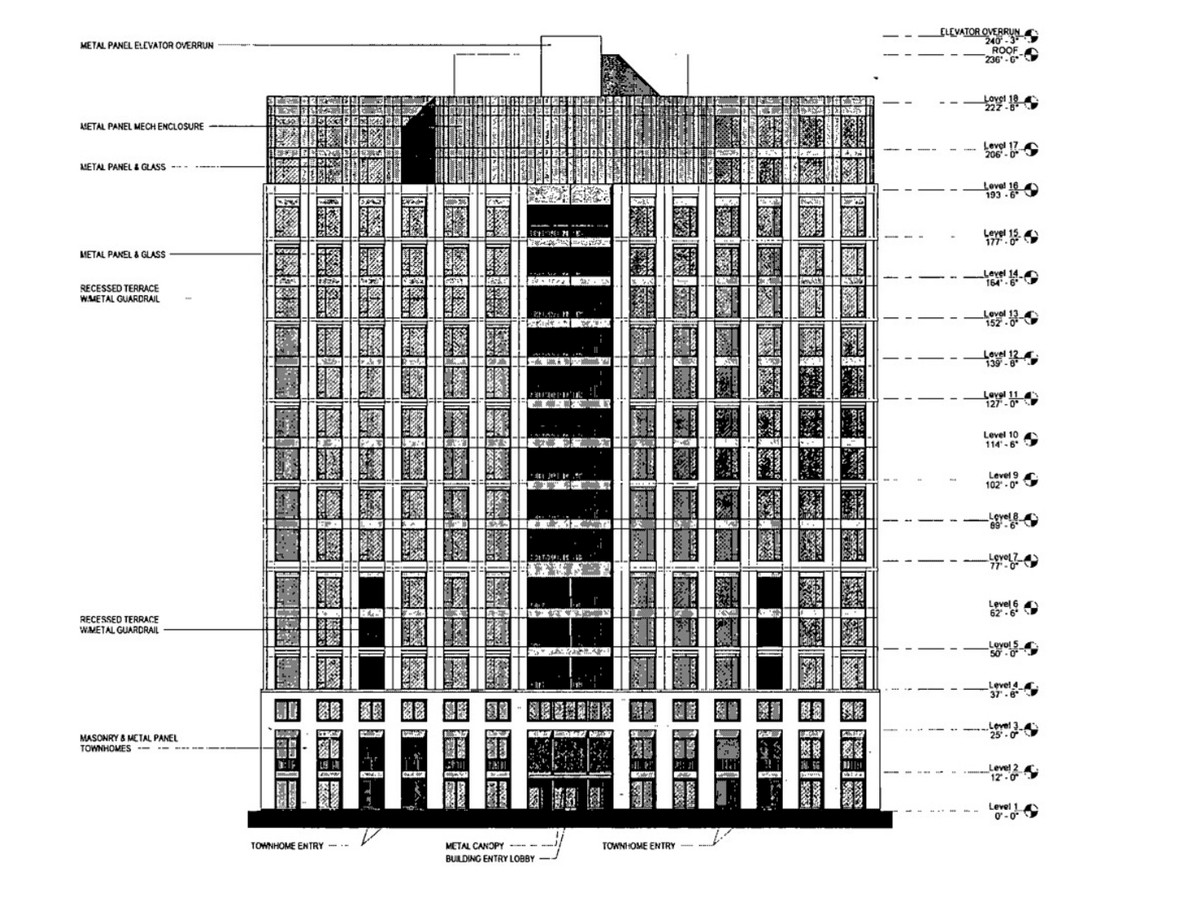 An elevation drawing of a 18-story residential building. A line of balconies runs up the middle of the structure. There are townhome style residences fronting May Street.