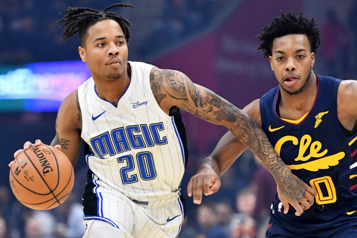 Orlando Magic guard Markelle Fultz drives to the basket against Cleveland Cavaliers guard Darius Garland during the first half at Rocket Mortgage FieldHouse.