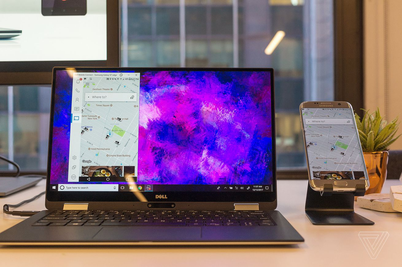 dell s new pcs will display incoming phone calls and text messages from ios and android