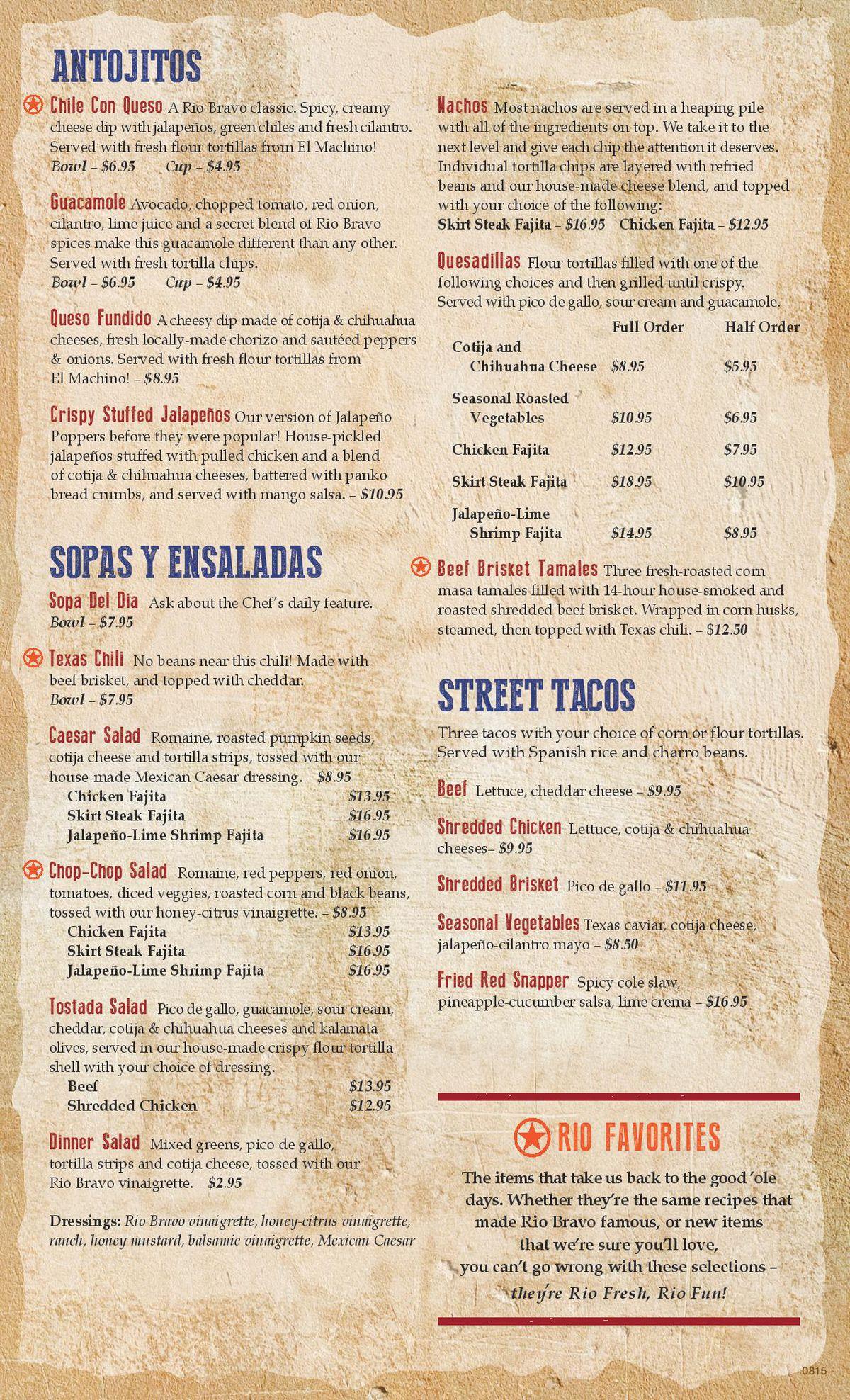 Ray's Rio Bravo menu 2