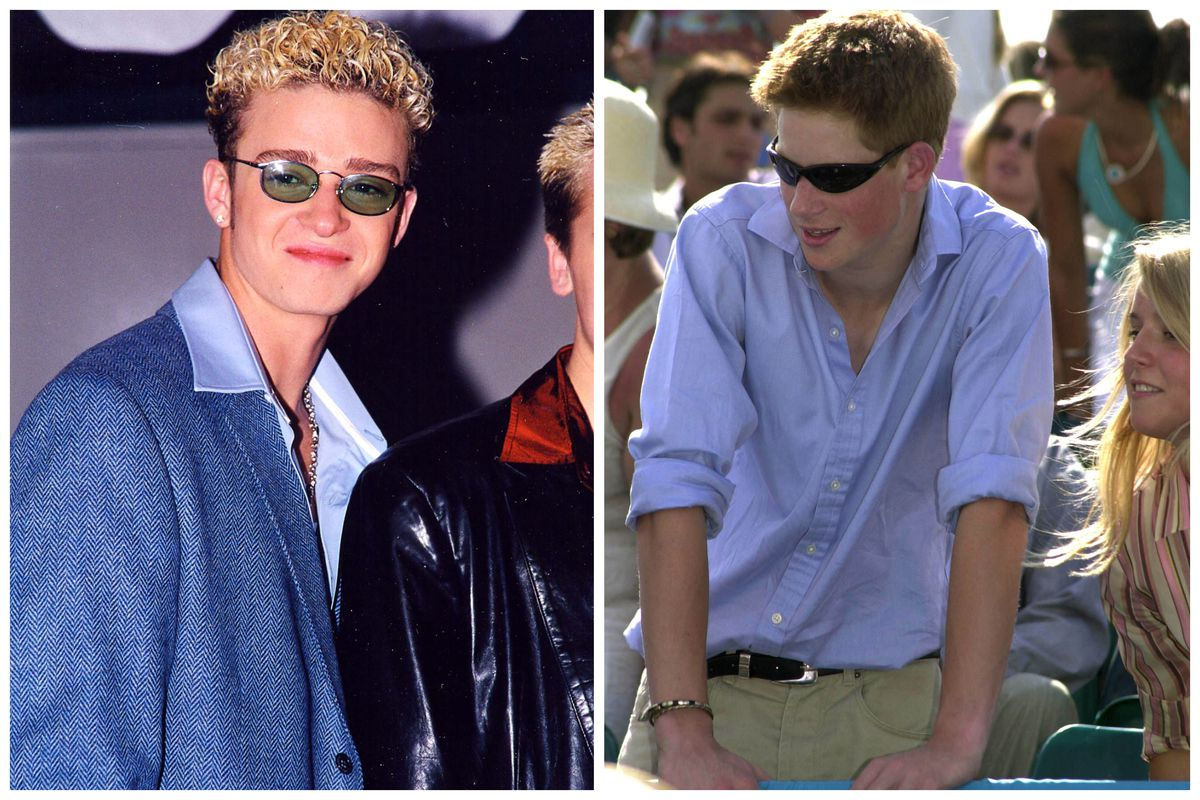 dc77ecf2dd L  Justin Timberlake in 1998  R  Prince Harry in 2001. Jeff Kravitz Getty  Images  Dave Benett Getty Images. Kanye West didn t invent tiny sunglasses  ...