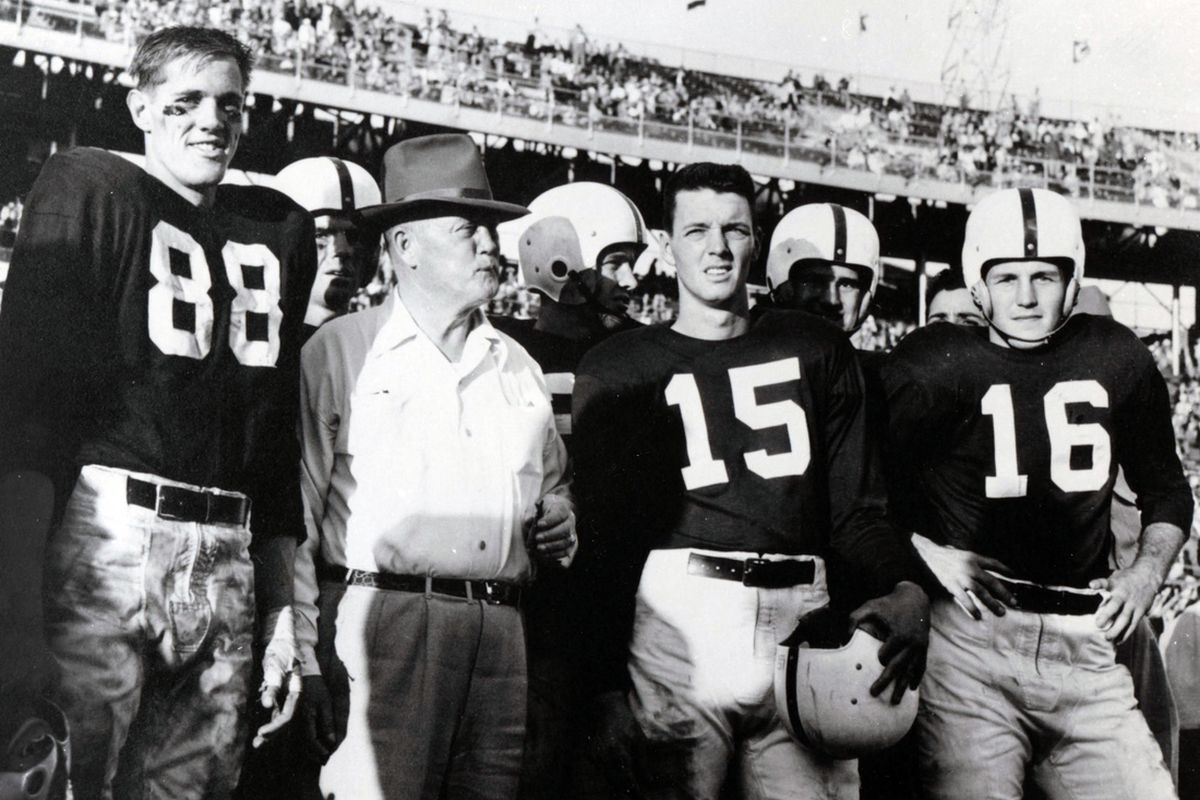 Alabama head coach Red Drew on the sideline with his team in the 1953 Orange Bowl