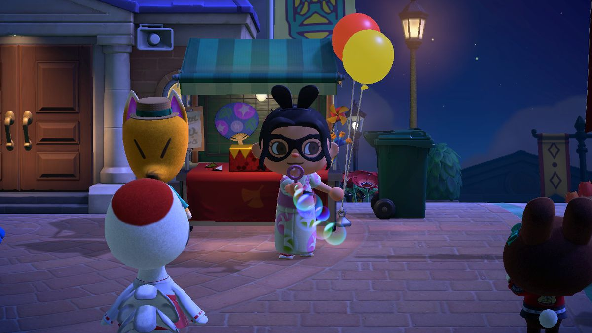 An Animal Crossing character blows bubbles