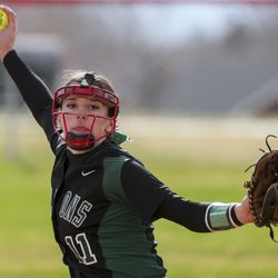 Clearfield pitcher Jayci Finch delivers a pitch during a softball game against Bountiful at Millcreek Junior High School in Bountiful on Wednesday, March 24, 2021.