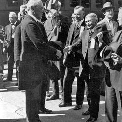 President Woodrow Wilson greets Ogden officials on his arrival at the railroad depot, Sept. 23, 1919.