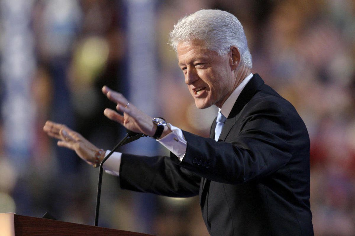 FILE - In this Aug. 27, 2008, file photo, former President Bill Clinton speaks at the Democratic National Convention in Denver. The way Democrats and Republicans treat their ex-presidents at convention time reflects each man's personal popularity and also