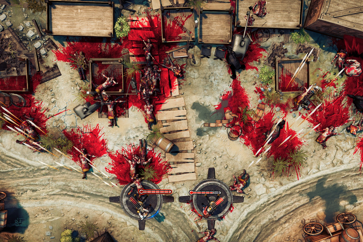 God's Trigger - two players use miniguns to clear enemies