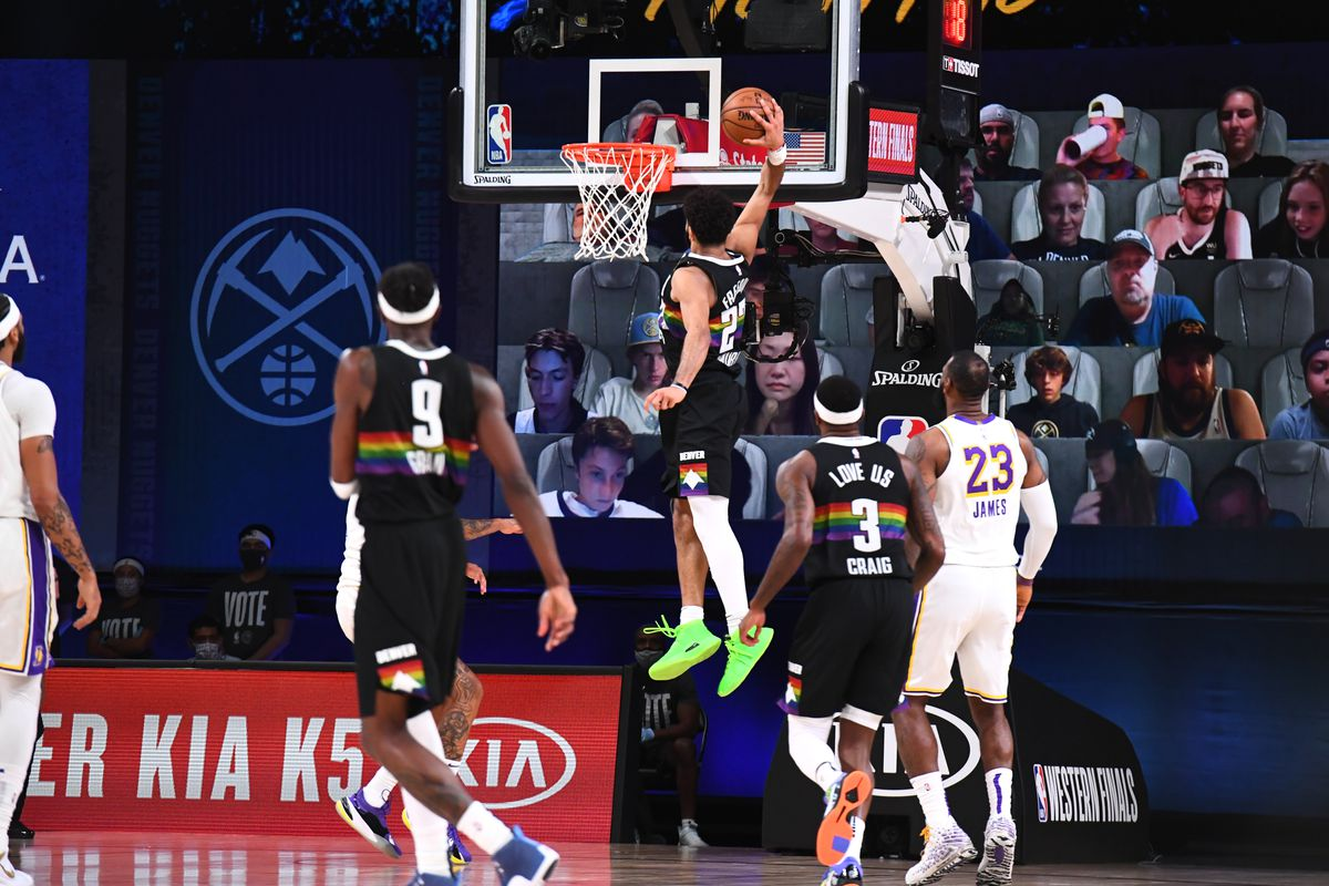 Jamal Murray of the Denver Nuggets dunks the ball against the Los Angeles Lakers during Game Three of the Western Conference Finals of the NBA Playoffs on September 22, 2020 at AdventHealth Arena in Orlando, Florida.