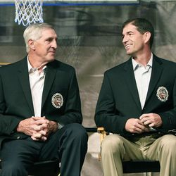 """Hall of Famer Jerry Sloan, left, sitting with John Stockton, says he's done """"nothing"""" since resigning as the Jazz's head coach in February."""